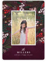 This is a purple holiday photo card by Angela Marzuki called Holiday Garden with standard printing on smooth signature in standard.