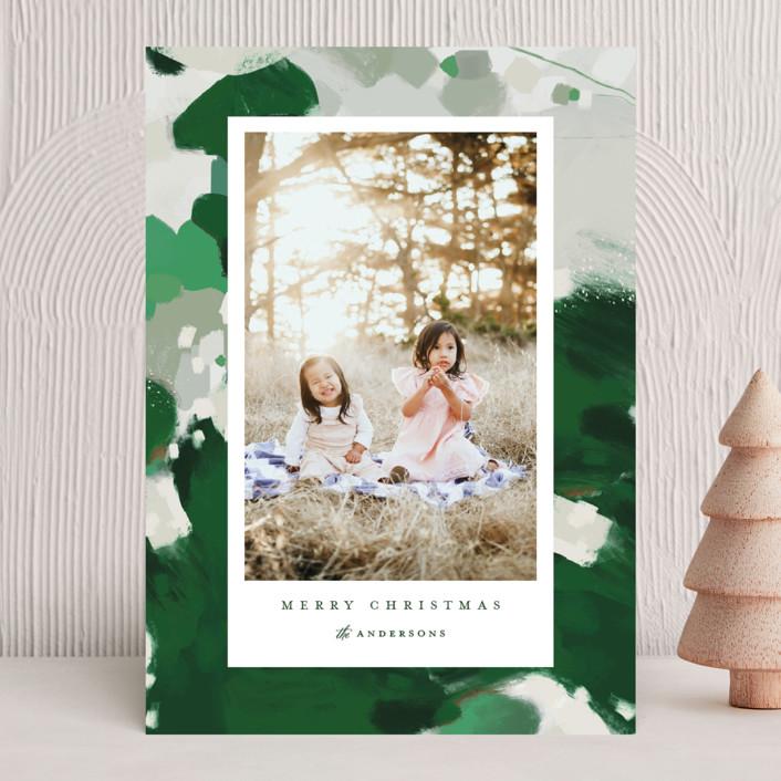 """Blithely"" - Modern Holiday Photo Cards in Shamrock by Alaina Cherup."