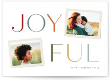 This is a blue holiday photo card by Jennifer Wick called Joy part II with standard printing on smooth signature in standard.