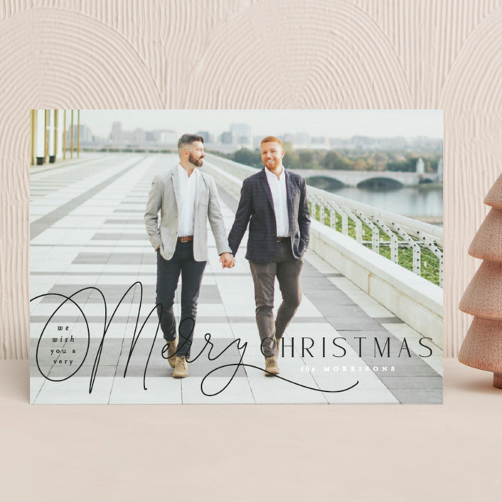 """""""Pen Script"""" - Holiday Photo Cards in Coal by Everett Paper Goods."""
