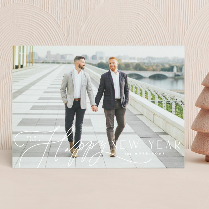 """""""Pen Script"""" - Holiday Photo Cards in Snow by Everett Paper Goods."""