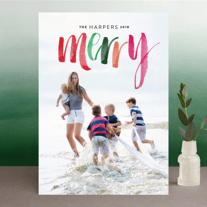 """Merry Happens"" - Holiday Photo Cards in Festive by Design Lotus."