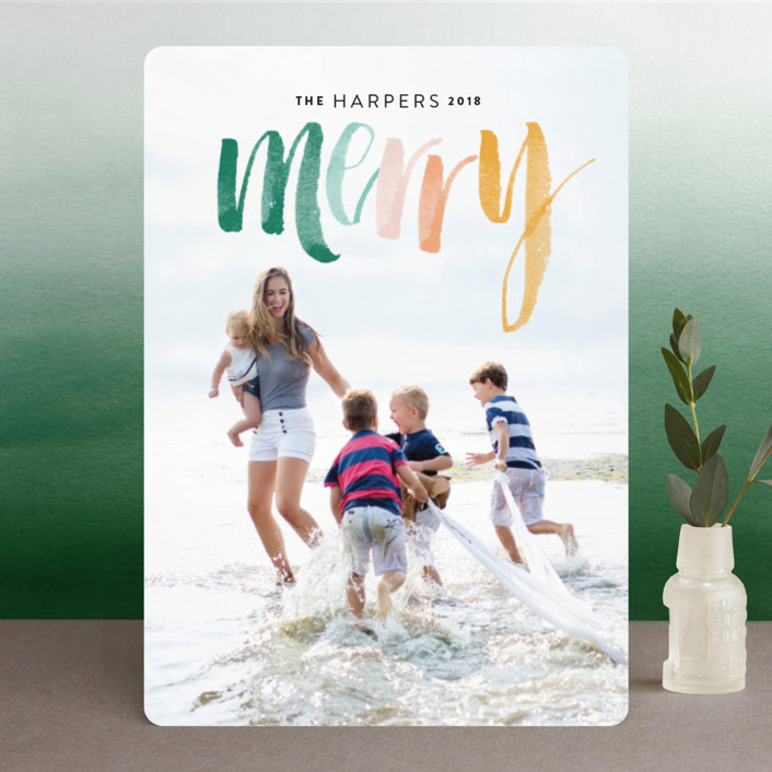 """""""Merry Happens"""" - Holiday Photo Cards in Berries by Design Lotus."""