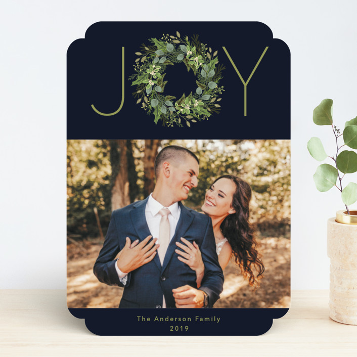 """Greenery & Joy"" - Holiday Photo Cards in Twilight by Susan Moyal."