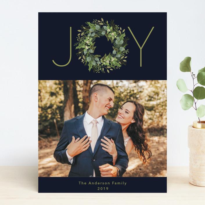 """Greenery & Joy"" - Holiday Photo Cards in Crimson by Susan Moyal."