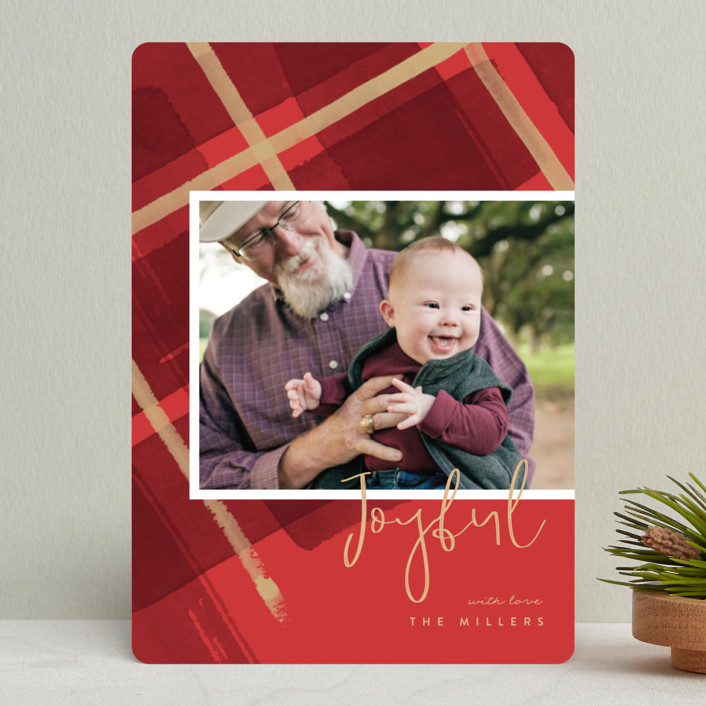 """""""Painted Holiday Plaid"""" - Holiday Photo Cards in Holly by Four Wet Feet Studio."""