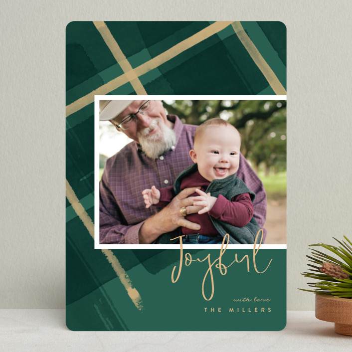 """""""Painted Holiday Plaid"""" - Holiday Photo Cards in Christmas Tree by Four Wet Feet Studio."""