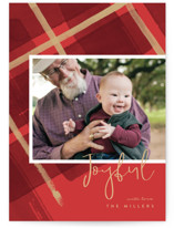 This is a red holiday photo card by Four Wet Feet Studio called Painted Holiday Plaid with standard printing on smooth signature in standard.