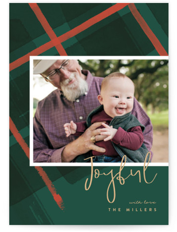Painted Holiday Plaid Holiday Photo Cards