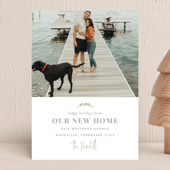 """""""Our New Home for the Holidays"""" - Holiday Photo Cards in Sage by Sara Hicks Malone."""