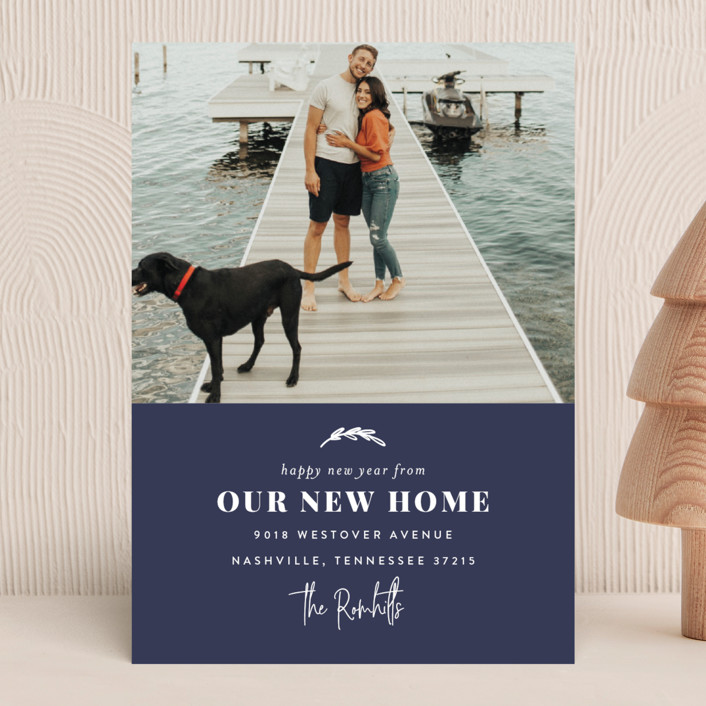 """""""Our New Home for the Holidays"""" - Holiday Photo Cards in Navy by Sara Hicks Malone."""