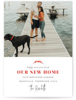 This is a red holiday photo card by Sara Hicks Malone called Our New Home for the Holidays with standard printing on smooth signature in standard.