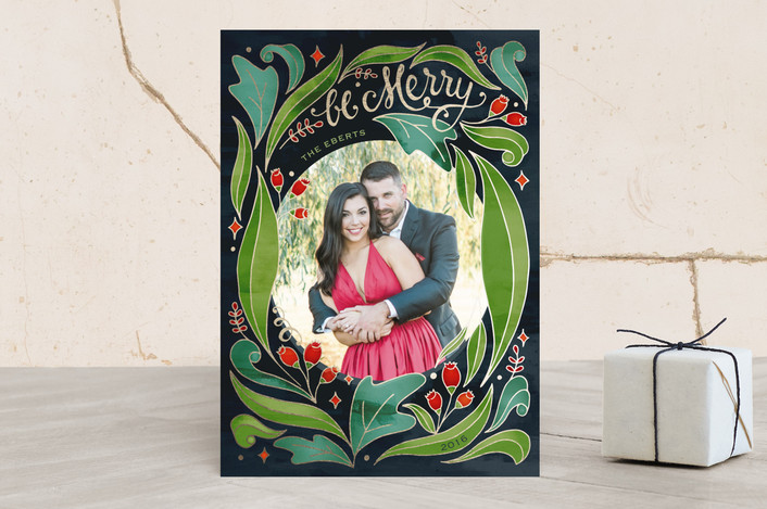"""""""Cloisonne"""" - Floral & Botanical, Bohemian Holiday Photo Cards in Festive by Lorent and Leif."""
