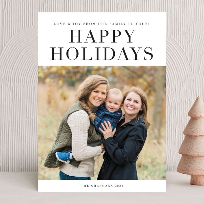 """classic sentiment"" - Holiday Photo Cards in Coal by Jennifer Lew."