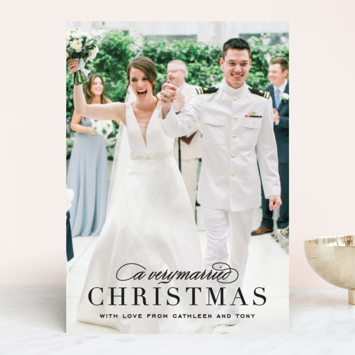 """""""Very Married"""" - Holiday Photo Cards in Antique by Michelle Poe."""