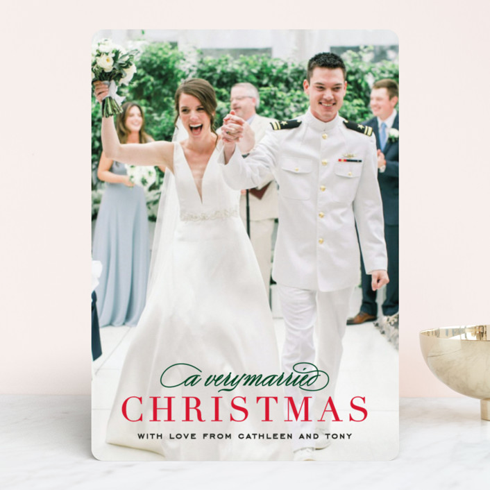 """""""Very Married"""" - Holiday Photo Cards in Persimmon by Michelle Poe."""