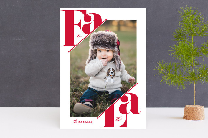 """Fa La Bold"" - Holiday Photo Cards in Crimson by Baumbirdy."