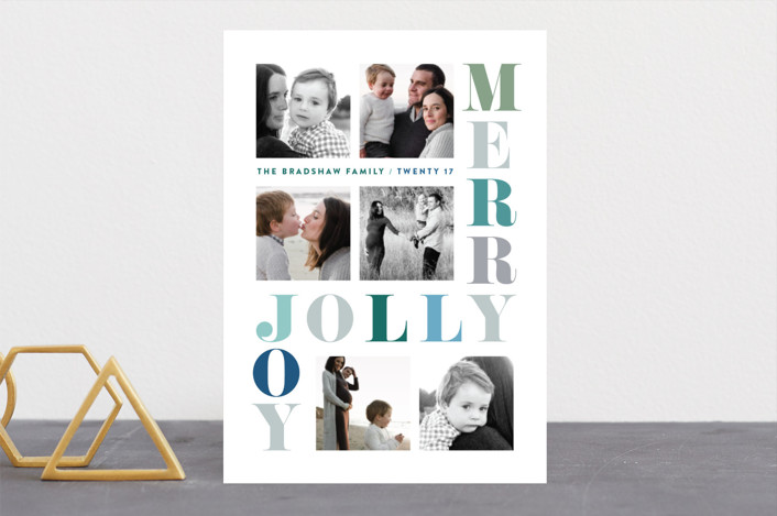 """Merry Jolly Joy"" - Modern Holiday Photo Cards in Evergreen by Hooray Creative."