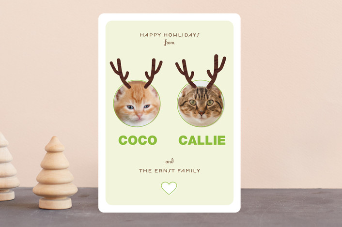 """Reinpet"" - Modern Holiday Photo Cards in Beet by 2birdstone."