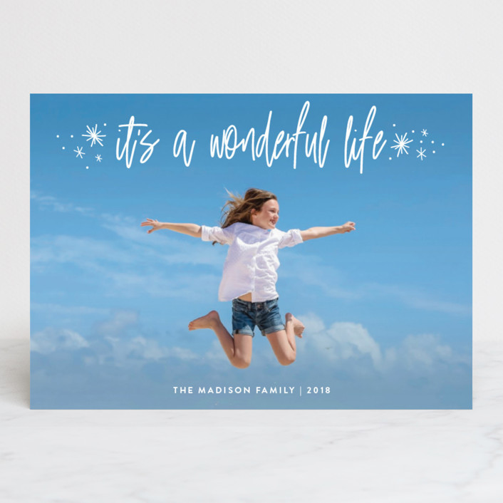 """""""It's Wonderful"""" - Holiday Photo Cards in Snow by Sarah Guse Brown."""