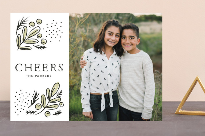 """Cheerful branches"" - Holiday Photo Cards in Ivory by iamtanya."