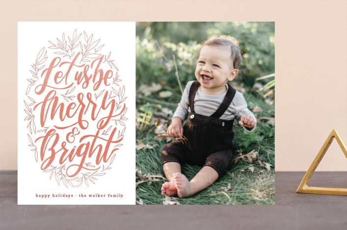 """Let Us Be Merry"" - Holiday Photo Cards in Persimmon by Grace Kreinbrink."