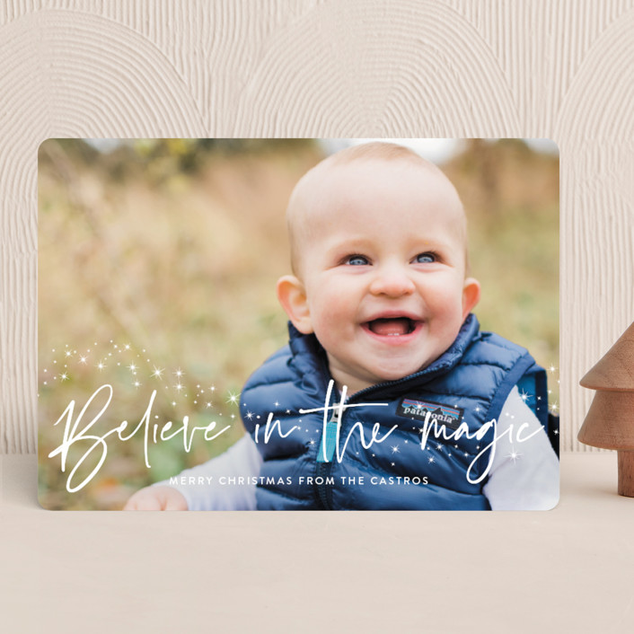 """""""Believe"""" - Bohemian Holiday Photo Cards in Snow by Annie Holmquist."""