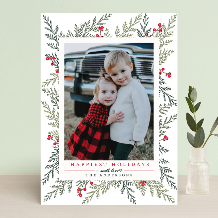 """Christmas Blessings"" - Holiday Photo Cards in Crimson by Susan Moyal."