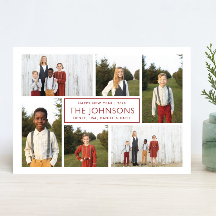 """Label"" - Holiday Photo Cards in Cranberry by Snow and Ivy."