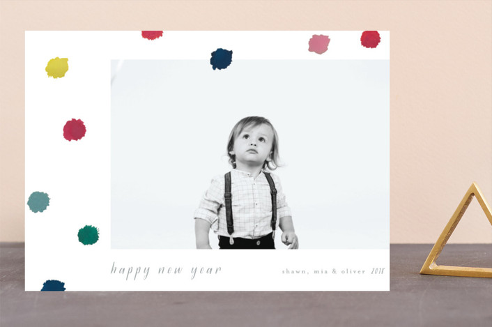 """""""Pompoms"""" - Modern Holiday Photo Cards in Blue Jay by Kanika Mathur."""