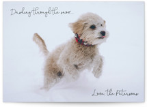This is a black holiday photo card by Rebecca Rueth called Dashing Through the Snow with standard printing on smooth signature in standard.