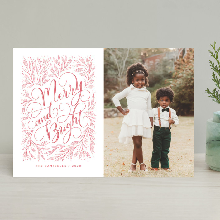 """""""Merry and Bright Hand-lettering"""" - Bohemian Holiday Photo Cards in Strawberry by Nicole Barreto."""