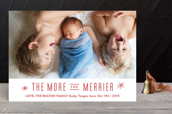 """""""The More, the Merrier"""" - Holiday Photo Cards in Snowflake by Carolyn MacLaren."""