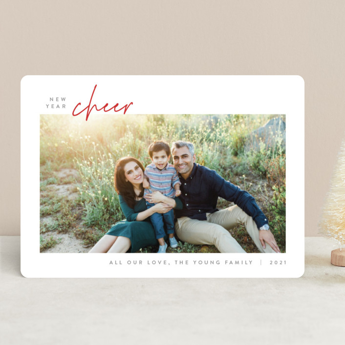 """Simplicity"" - Holiday Photo Cards in Poinsettia by JoAnn Jinks."