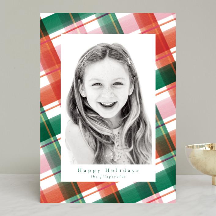 """""""Happy Plaid"""" - Modern Holiday Photo Cards in Rudolph by Jackie Crawford."""