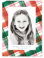 This is a red holiday photo card by Jackie Crawford called Happy Plaid with standard printing on smooth signature in standard.