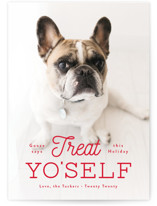 This is a red holiday photo card by Lauren Chism called Treat Yo'self with standard printing on smooth signature in standard.