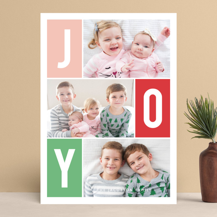 """""""Windows of Joy"""" - Holiday Photo Cards in Melon by Kristen Smith."""