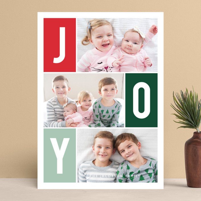 """Windows of Joy"" - Holiday Photo Cards in Melon by Kristen Smith."