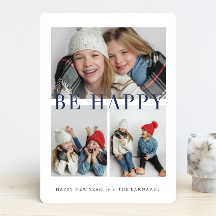 """Be Merry Grid"" - Holiday Photo Cards in Navy by Stacey Meacham."