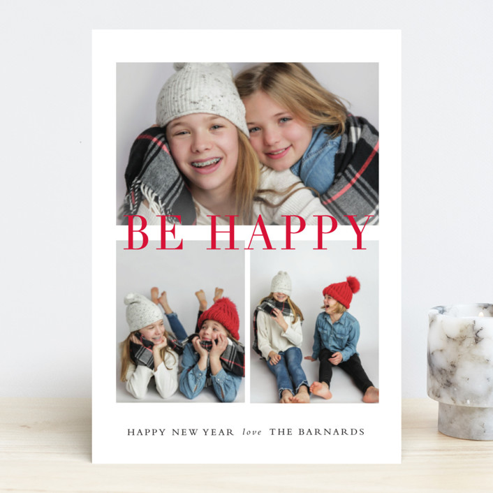 """Be Merry Grid"" - Holiday Photo Cards in Cranberry by Stacey Meacham."