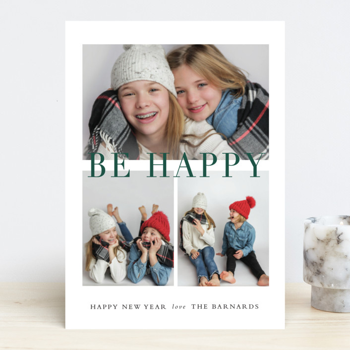 """""""Be Merry Grid"""" - Holiday Photo Cards in Cranberry by Stacey Meacham."""