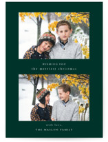This is a green holiday photo card by Jennifer Lew called Foreword with standard printing on smooth signature in standard.
