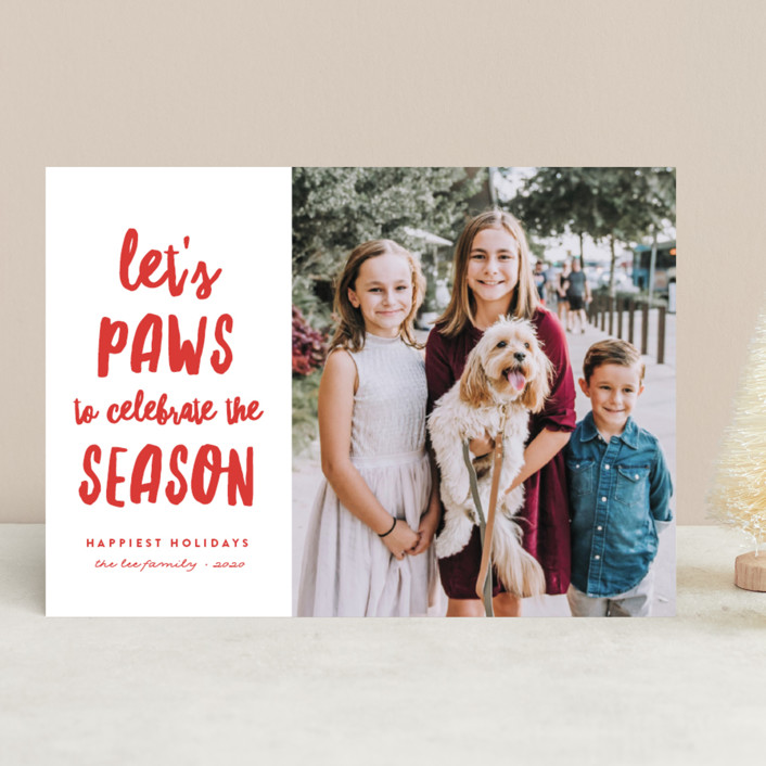 """""""Let's Paws"""" - Funny Holiday Photo Cards in Holly by Erica Krystek."""
