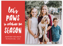 This is a red holiday photo card by Erica Krystek called Let's Paws with standard printing on smooth signature in standard.