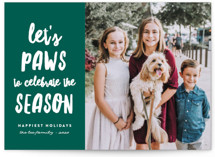 This is a green holiday photo card by Erica Krystek called Let's Paws with standard printing on smooth signature in standard.