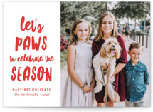 This is a white holiday photo card by Erica Krystek called Let's Paws with standard printing on smooth signature in standard.