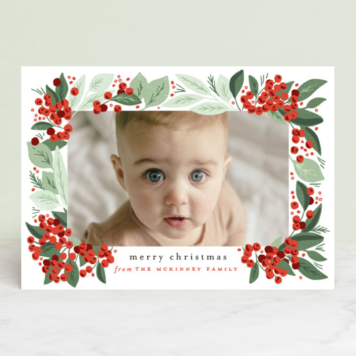 """Berry Bunches"" - Holiday Photo Cards in Holly Berry by Alethea and Ruth."