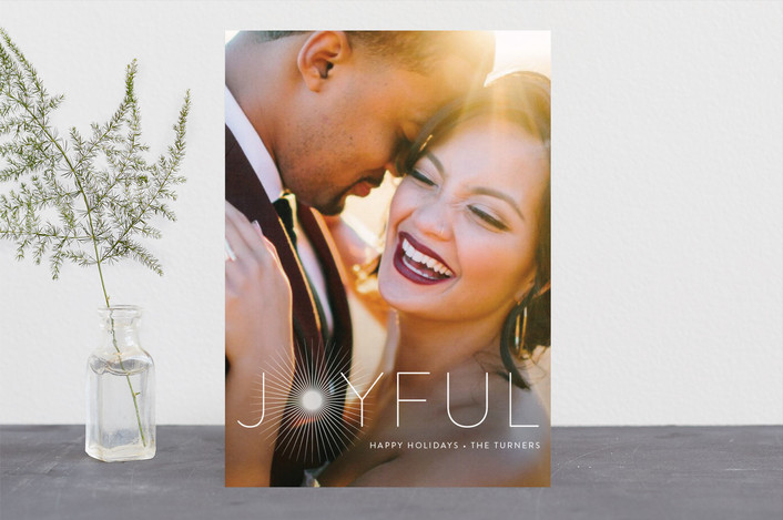 """""""Joyful & Glowing"""" - Holiday Photo Cards in Pearl by Chryssi Tsoupanarias."""