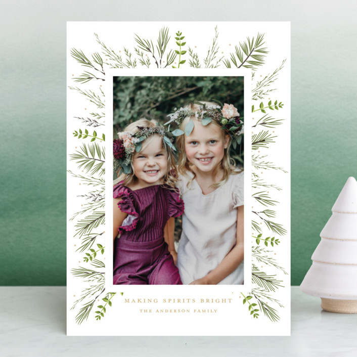 """Bed of Greens"" - Holiday Photo Cards in Pine by Susan Moyal."